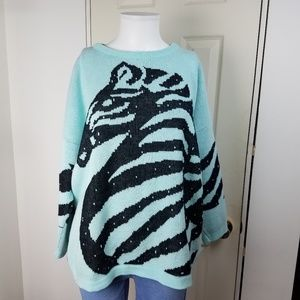 Vintage 1980s Aqua Zebra Sweater by Turtle Bay USA